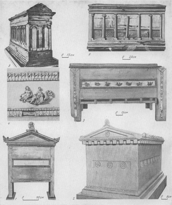 Таблица CXXVI. Типы деревянных и каменных саркофагов IV в. до н. э. — I в. н. э. 1 — саркофаг из Юз-Обы, IV в. до н. э.; 2 — Таманский саркофаг, IV в. до н. э.; 3 — Анапский саркофаг, эллинизм; 4 — деталь того же саркофага; 5 — саркофаг с арочками, II в. н. э., реконструкция, Пантикапей; ΰ — саркофаг с ниобидами, I в. н. э., Пантикапей 1. 3—6 — дерево; 2 — мрамор. Составитель М. М. Кобылина