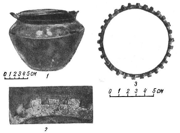 Рис. 2. 1 — медный котелок; 2 — шов между дном и корпусом котелка: 3 — бронзовое кольцо