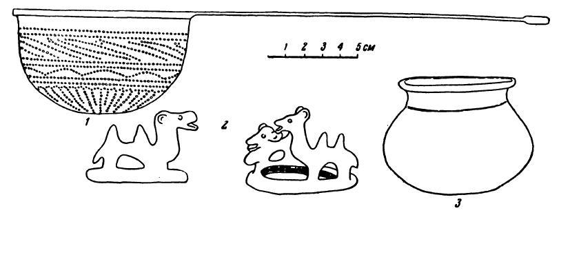Рис. 3. 1 — серебряное ситечко; 2 — бронзовые кольца с верблюдами; 3 — красноглиняный горшок