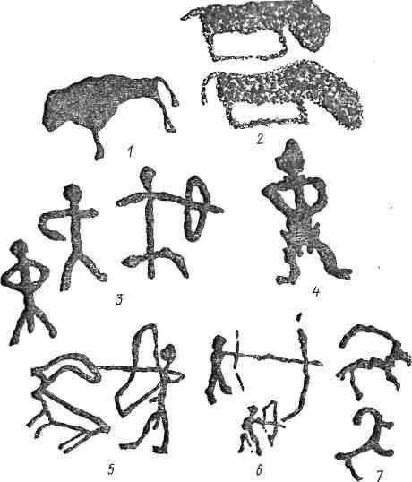 Рис. 99. Казахстан. Тесиктас, Караунгур [Медоев, 1961]