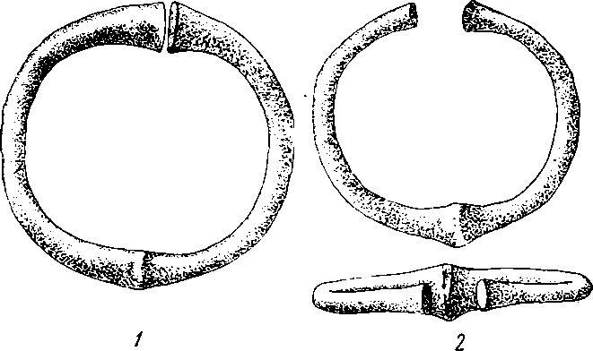 Рис. 19. 1 — бронзовый браслет из Самтавро; 2 — золотой браслет из Перещепинского клада (по А. Бобринскому)