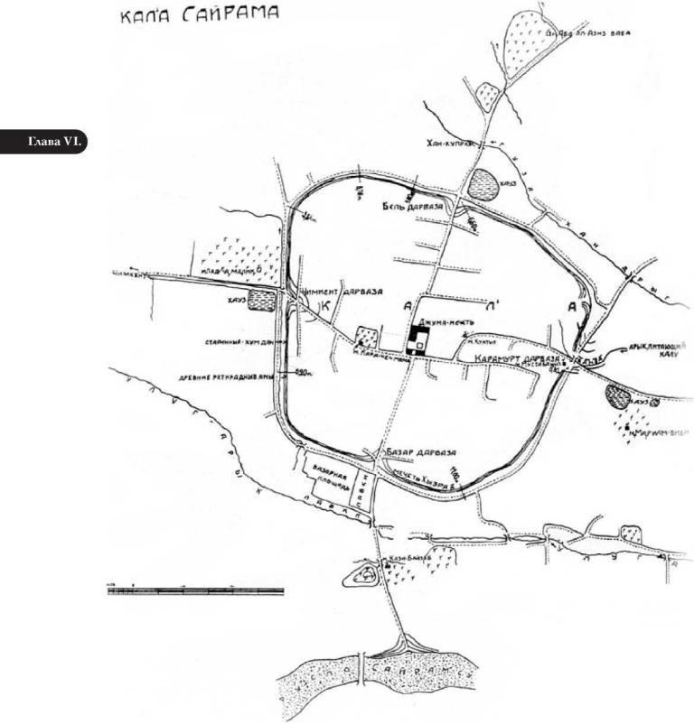 Рис. 6.1. Исторический центр села Сайрам (по М.Е. Массону)