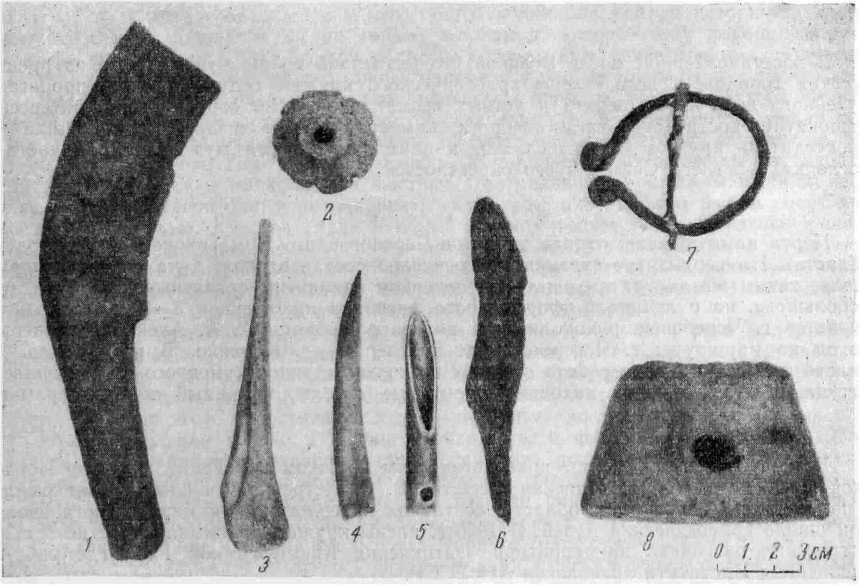 Рис. 2. 1 — обломок железного серпа; 2 — грузик; 3—5 — изделия из кости; 6 — нож; 7 — пряжка; 8 — рогатый кирпич
