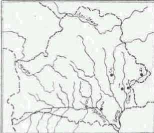Карта палеолитических местонахождений на территории Белоруссии. 1 — Бердыж; 2 — Юревичи; 3 — Светиловичи; 4 — Клеевичи; 5 — Абидовичи; 6 — Беляжевичи.