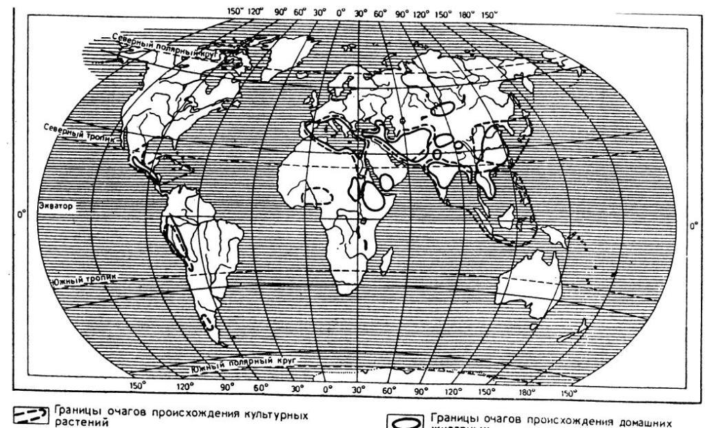 Древнейшие центры происхождения культурных растений и домашних животных. Карта составлена В. П. Алексеевым (использованы карты Н И. Вавилова)