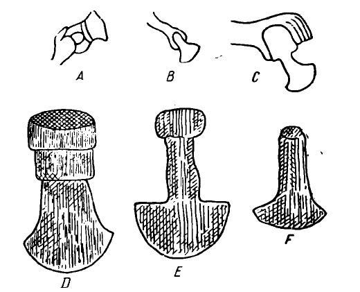Рис. 13. Ножи для разрезания кожи (А, В, С, D — употреблявшиеся в древнем Египте; Е, F — ножи римские)