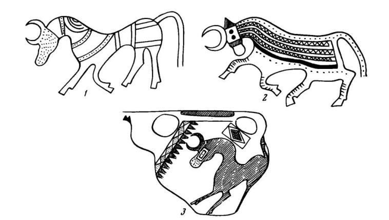 Рис. 4. Изображения быков: 1 — на азербайджанском поясе (Эрмитаж); 2 — на поясе из Ходжала; 3 — на мидийской вазе
