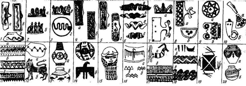 Рис. 5 1a — рисунок змеи на кобанской пряжке (по П. Уваровой, МАК, VIII, табл. СХХН),5); б — змея с атрибутом треугольника на месте головы (по П. Уваровой, МАК, VIII, табл. XIV, б); в — изображение змеи на энеолитической керамике (Госмузей Грузии). 2,3 а, б, в — фигурные пряжки в виде змей с атрибутами треугольников (по П. Уваровой, МАК, VIII, табл. XXXVIII; 1, CIV, 15; CIV, 14); г — по А. А. Ивановскому, По Закавказью. М., 1911, табл. VII, Ю\ 4, 5 а, б, в, г — змея и зигзаги на спиральном фоне нобанских пряжек (по П. Уваровой, МАК, VIII, табл. XIV, 4; XV, 1\ XVII, ■3; XVII, 1). 6 а, б, в, г — привески в виде бараньей головы к композиции из двух змей; а, г — из Госмузея Грузии; б, в — по П. Уваровой, МАК, VII, табл. XCIII, 4; XGIII, 3, 7а- фигурная пряжка (по П. Уваровой, МАК, VIII, табл. LVI, 3)\ б — кобанская пряжка с головой барана, фон «чистое поле» (по П. Уваровой, МАК. VIII, табл. XXVI, 1). 8 а — кобанская пряжка с головой барана; б — полукружная пряжка со спиралью из зигзагов (по П. Уваровой, МАК, VIII, табл. XXXVII, 3; XL, 12). о а, б — пряжки с орнаментами зигзага и солярными знаками (по П. Уваровой, МАК, VIII. табл. XLVI, 4\ XXIII, 3). 10 а — бронзовый топорик с изображением змеи (по Д. Коридзе К истории колхекой культуры, табл. XLIV, Ä) ; б — рог со спиральным концом (по П. Уваровой, МАК, VIII, табл. CXV, 4). 11 а, в — орнаменты на поясах из Армении (по А. Мартиросяну, Армения в эпоху бронзы и раннего железа. стр. 137, рис. 57); б — орнамент на поясе из Самтавро (Госмузей Грузии, М 1254/6591). 12 а — орнамент на керамике из Вани (Грузия, по Б. Куфтину, Материалы к археологии Колхиды, II. табл. 46); б — треугольные и солярные знаки на зооморфном изображении. Рисунок из сюжета на бронзовом поясе из Тли (по Б. Техову, Бронзовые пояса Центрального Кавказа). 13 а — керамический сосуд из Уде (Грузия, по А. Джавахишвили, Т. Чубинишвили. Клад из Уде, «Сабчота хеловнеба», 1959, 4, стр. 00); б — рисунок из элементов треугольника и спирали на керамическом сосуде Арм