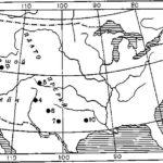 Рис 1. Карта древнейших стоянок на территории Северной Америки. 1 — Дчнджер; 2 — Леонард; 3 — Тьюл-Спрингс; 4 — Сандиа; 5 — Фолсом; 6 — Кловис; 7 — Лэббок; 8 — Ла-Хольа; 9 — Санта-Роса; 10 — Льюисвилл