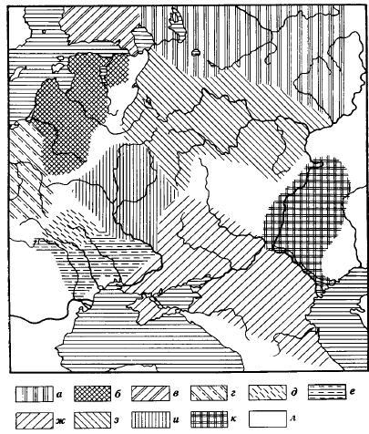 Карта 6. Фатьяновская культура и ее окружение а — северные культуры с ямочно-гребенчатой керамикой; б — прибалтийская культура ладьевидных топоров; в — финская культура ладьевидных топоров; г—д — культура шаровидных амфор и шнуровой керамики; е — иозднетрипольская культура; ж — катакомбная культура; з — фатьяновская культура; и — ереднеднепровская культура; к — полтавкинская культура; л — неисследованные места