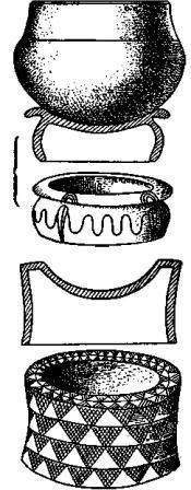 Рис. 138. Подставки для сосудов типа Шассе: 1 — Лeмустуар (Карнак); 2 — Мот де ла Гард (Шаранта).
