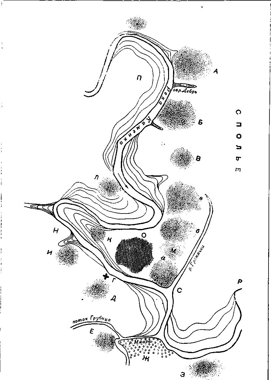 Рис. 57. Схема поселений XI—XII вв. на территории г. Суздаля. (Буквы обозначают участки обследования.)