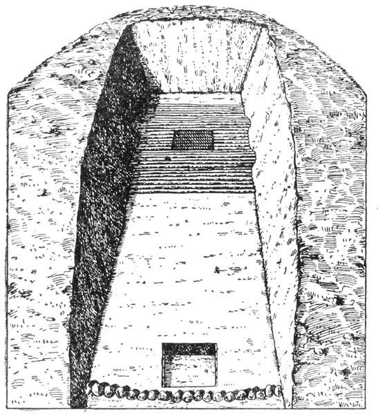 Рис. 98а. Погребение в кургане широкая могила у с. Болшая Лепетиха. Общий вид вскрытой части насыпи