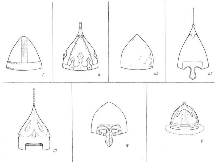 Рис. 8. Шлемы X—XIII вв. Типологическая схема.