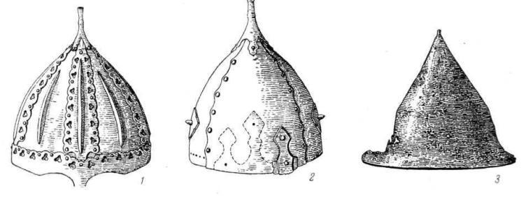 Рис. 9. Шлемы X—XI вв. 1 — Гнездово (№ 9); 2 — Чернигов (№ 4); 3 — Европейская Россия.