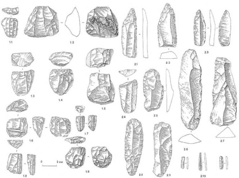 Рис. 2.8. Шульбинка. III культурный горизонт. 1 — нуклеусы: 1.1 — 1.5 — параллельного принципа расщепления; 1.6—1.9 — торцевым; 2 — орудия на пластинах: 2.1—2.3 — остроконечники; 2.4—2.9 — ретушированные пластины; 2.10 — микропластины