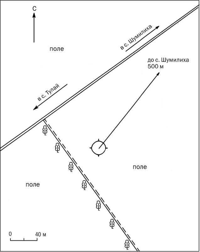Рис. 2. Одиночный курган Шумилиха-2