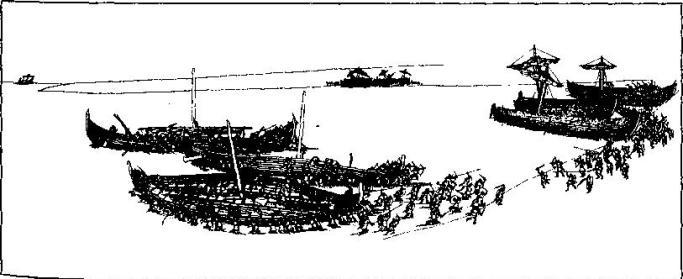 Рис. 8. Схватка викингов с флотом короля Альфреда Великого. Реконструкция Б. Альмгрена