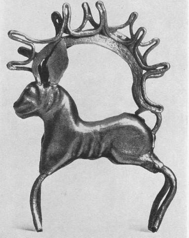 263. Золотая фигурка оленя с напаянными рогами. Сибирская коллекция.