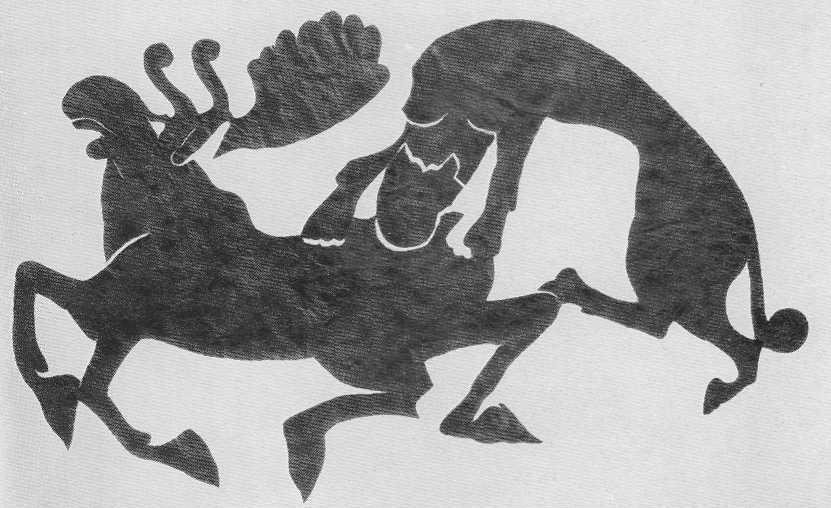 292. Тигр, напавший на лося. Аппликация. Пазырык, первый курган.
