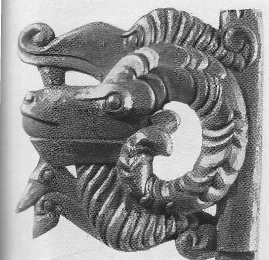 301. Уздечная подвеска — голова барана в пасти хищника. Пазырык, первый курган.