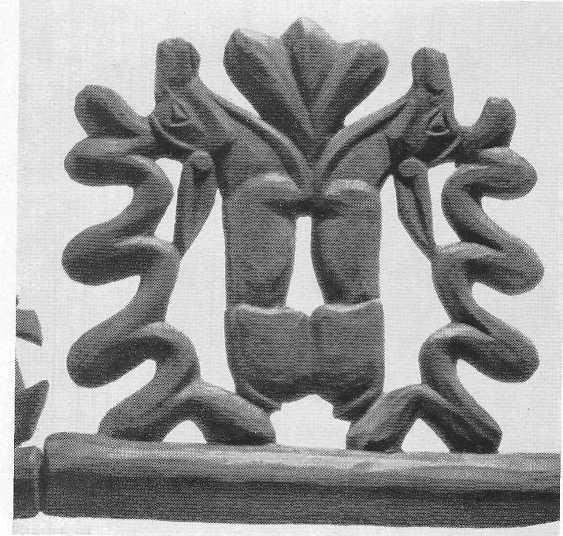 302. Деревянная уздечная подвеска — пара оленей. Пазырык, первый курган.