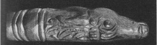 231. Золотая гривна с головками лани на концах. Деталь. Анапа, курган.