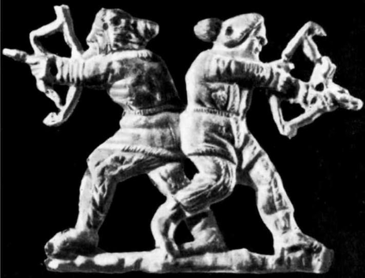 Скифы в бою. Золотая бляшка из кургана Куль-Оба, IV в. до н.э.