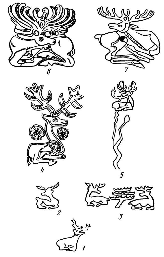 Рис. 2. Схема происхождения «скифских оленей» с головой, повернутой назад. 1 — Ур (по: L. Woolley); 2, 3 — фрагменты оттисков печатей Керкук (митаннийских): 2 — по: H. Frankfort, 3 — по: W. Н. Ward; 4, 5 — изображения на клинках кинжалов: 4 — горы Загрос (по: A. Godard, 1962), 5 — Луристан (по: P. Calmeyer); 6 — Семибратний курган 4 (по М. И. Артамонову); 7 — Криворуково близ д. Журовка б. Киевской губ., курган CD (по М. И. Артамонову).
