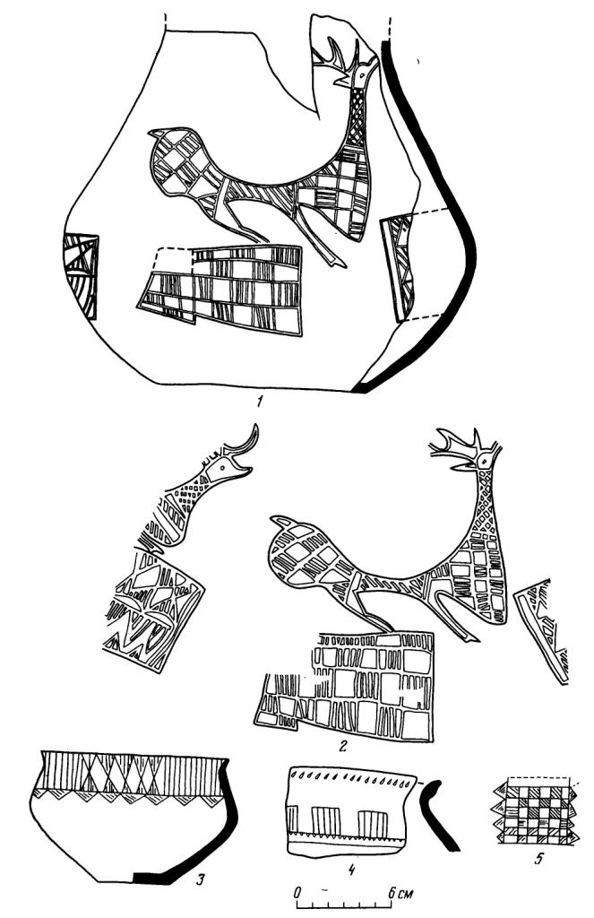 Рис. 5. Фигуры оленей на сосуде из Отрадненского могильника, аналогии и прототипы. 1, 2 — печати Керкук (по: W. Н. Ward); 3, 4 — сосуд из Амлаша и рисунок на нем (по: L. Vanden-Berghe); 3 — рисунок на сосуде из Кисловодского могильника (по Е. И. Крупнову); 6, 7 — сосуд из Отрадненского могильника и развертка изображений на нем (Пят. М)
