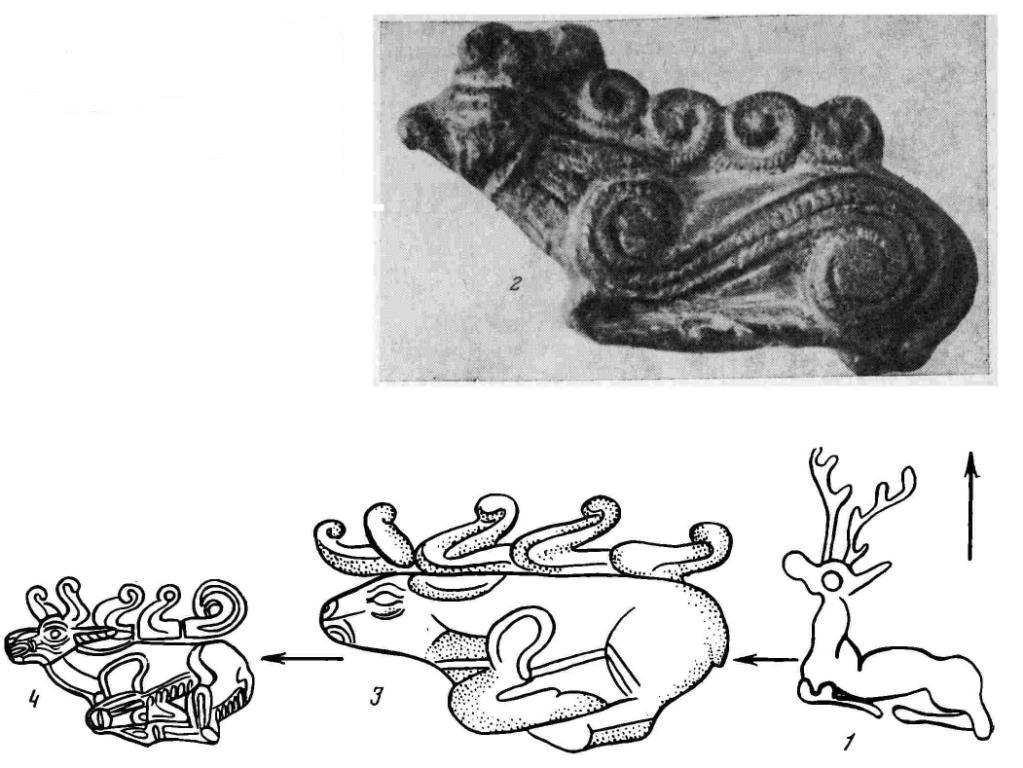 Рис. 1. Схема происхождения «скифских оленей» с головой, вытянутой вперед. 1 - сиро-хеттская печать (по: G. Contenau); 2 - Луристан, близ Харсина (по: A. Godard, 1938); 3 — Зивие (по: R. Ghirshman); 4 — Келермес (по М. И. Артамонову)