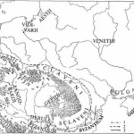 Рис. 18. Склавіни і анти V—VII ст. за історичними та археологічними джерелами: 1—3 — напрями руху племен (за М. Парчевським)
