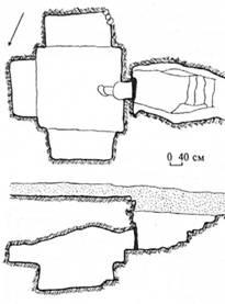 Рис. 32. Склеп, вирубаний у скелі з нішами-лежанками. Херсонес. Західний некрополь