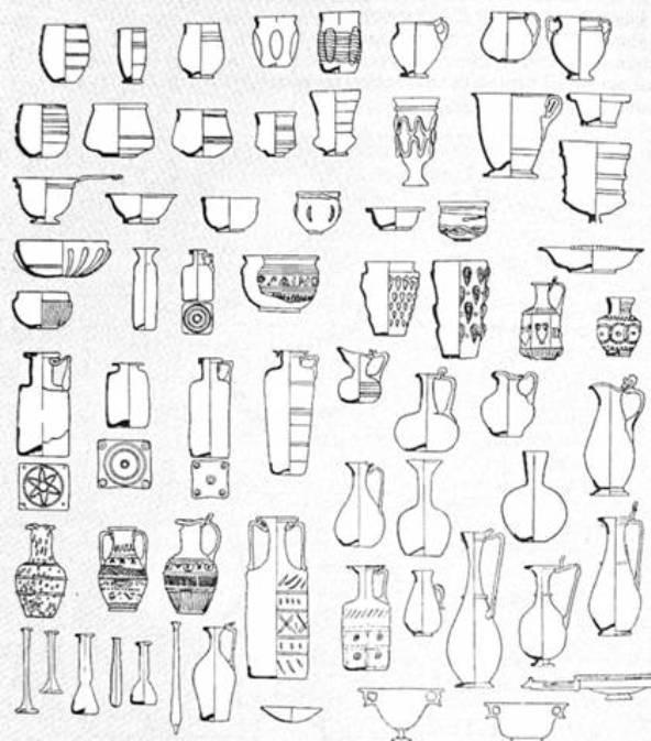 Рис. 34. Скляний посуд I—III ст. н. е.