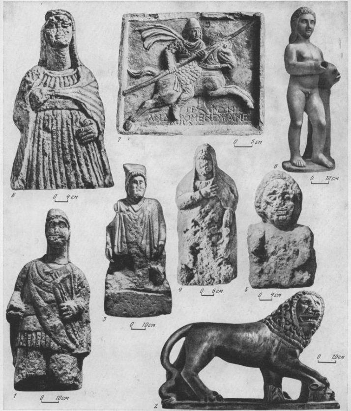 Таблица CIII. Скульптура III в. до н. э. — III в. н. э. 1 — статуя воина с луком, III в. до н. э., Фанагория; 2 — статуя льва, I в. до н. э., Пантикапей; 3 — надгробная статуя синда, I в. до н. э., Таманский полуостров; 4 — статуя местной жительницы, I в. н. э., Ахтанизовский лиман; 5 — надгробная статуя из Танаиса, III в. н. э.; 6 — статуя местной жительницы, II в. н. э., Пантикапей; 7 — посвятительная плита Трифона, III в. н. э., Танаис; 8 — статуя-фонтап, III в. н. э., Ольвия 1, 3, 7 — известняк; 2, 8 — мрамор. Составитель М. М. Кобылина