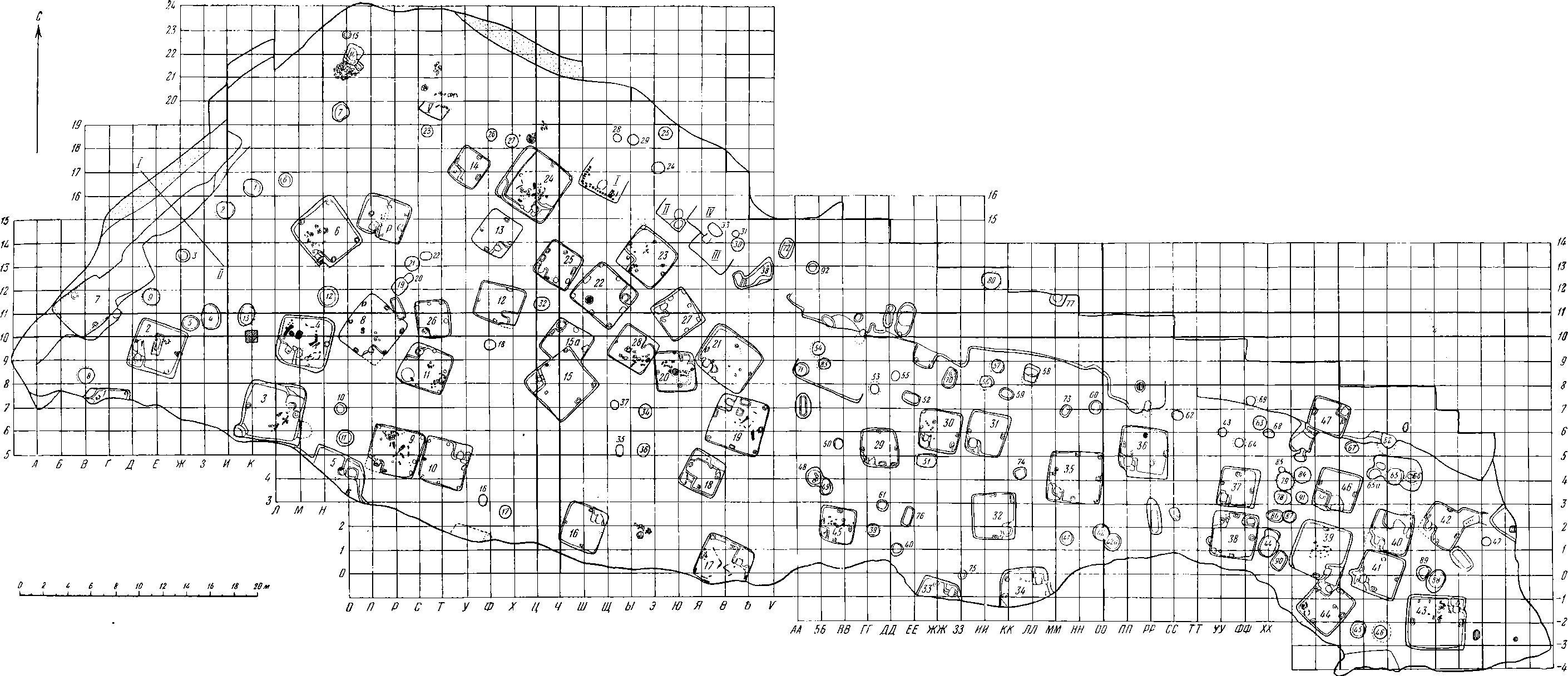 Рис. 2. Новотроицкое городище. План раскопа. 1—47 — полуземлянки; 1—91 (в кружках) — остатки хозяйственных сооружении; I—V — остатки полуземлянок.