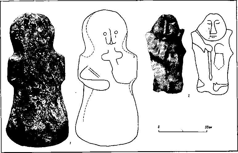 Рис. 5. Каменные идолы (фото и прориси)1 — д. Велье; 2 — руч. Промежица
