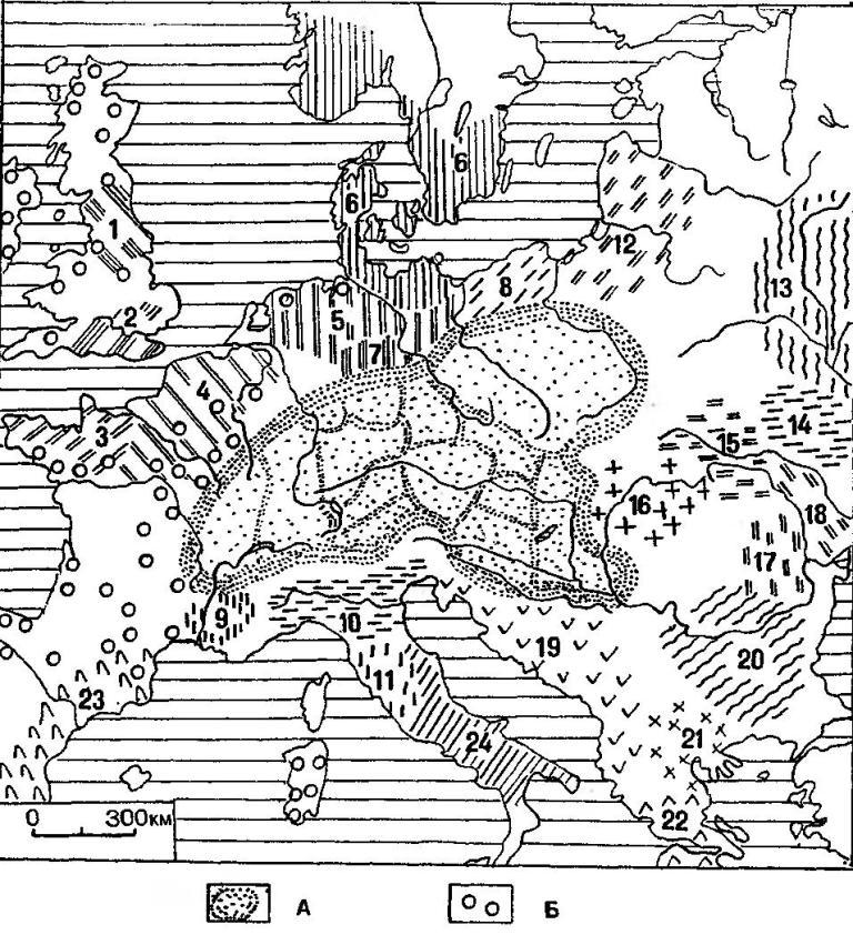 Рис. 19. Средняя Европа во второй половике Ц тысячелетия до н.э.: а — ареал среднеевропейской общности полей погребальных урн; б — распространение мегалитических сооружений. Археологические культуры: 1 — Фуд-Вессель; 2 — Уэсекс; 3 — бретонская; 4 — Сены-Уазы-Марны; 5 — нордийская-пошерзонская; 6 — нордийская-щишлейская; 7 — унструцкая; 8 — гробовско-смердовская; 9 — Роны; 10 — террамар; II — протовилланова; 12 — балтийская; 13 — сосницкая; 14 — белогрудовская; 15 — комаровская; 16 — перьямош-печица; 17 — монтеору; 18 — ноа; 19 — древности Западной Адриатики (раннелибурнская, раннеяподская, среднедалматская, среднебоснийская, южно-далматская, глазинацкая, гайтан-мате и деволлская культурные группы); 20 — инкрустированной керамики; 21 — позднемакедонская; 22 — поэднеэлладская; 23 — Эль-Аргар; 24 — апеннинская