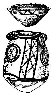 Рис. 38. Посуда с матовой росписью из Энгины.