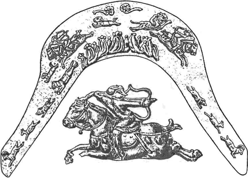 Копёнский чаатас. Бронзовые бляхи передней луки седла