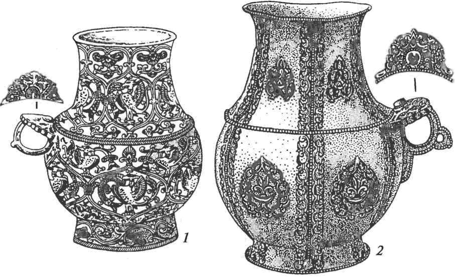Копёнский чаатас. Золотые сосуды: 1 — чеканка и резьба; 2 — накладной узор, пайка