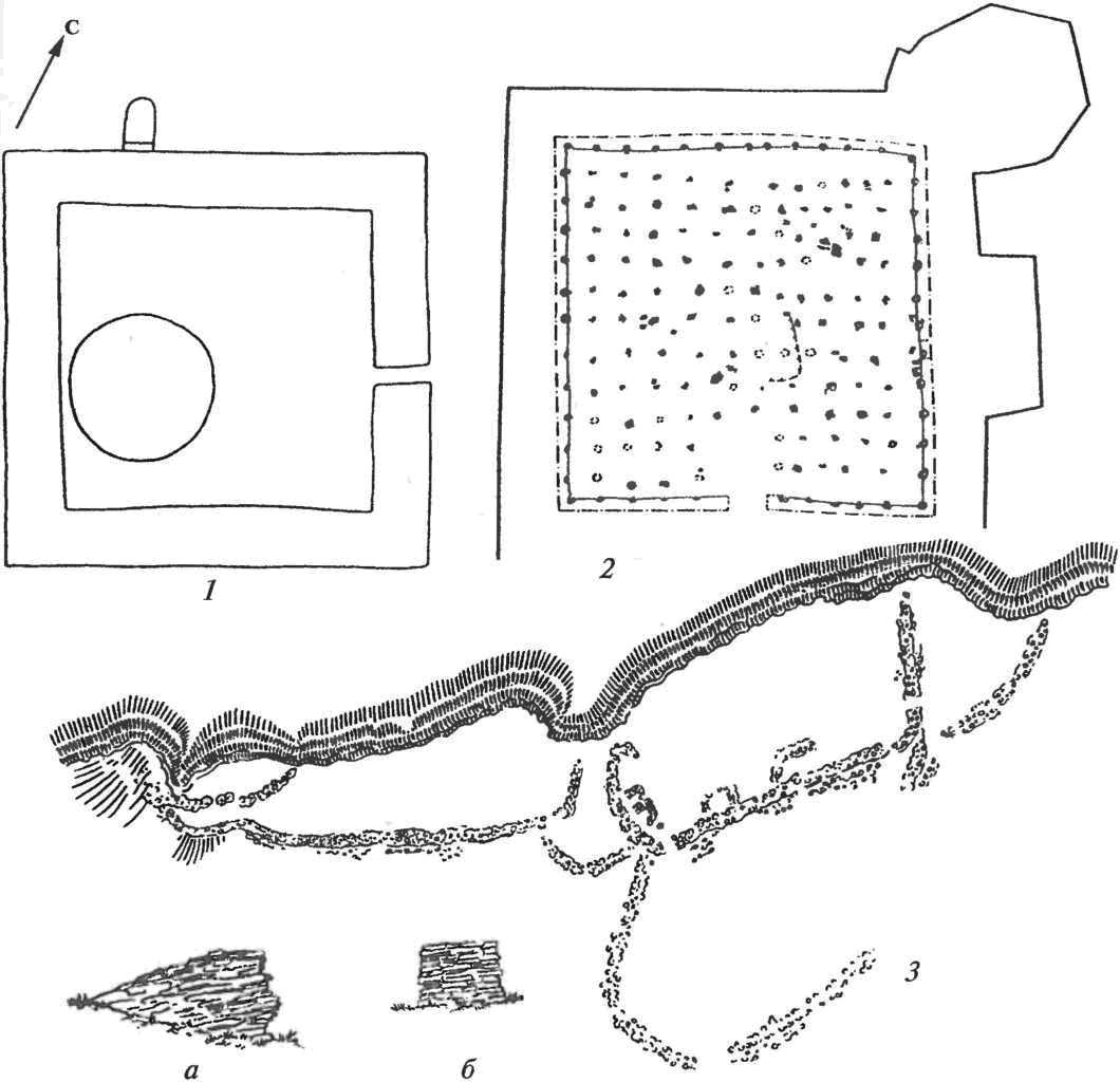 Уйбатский город: 1 — план манихейского храма Первопричины (с купольным святилищем внутри); 2 — его план после перестройки в колонный зал храма Солнца, VIII в.; 3 — каменная крепость на горе Хызыл хая, а, б— поперечные разрезы ее стен у входов
