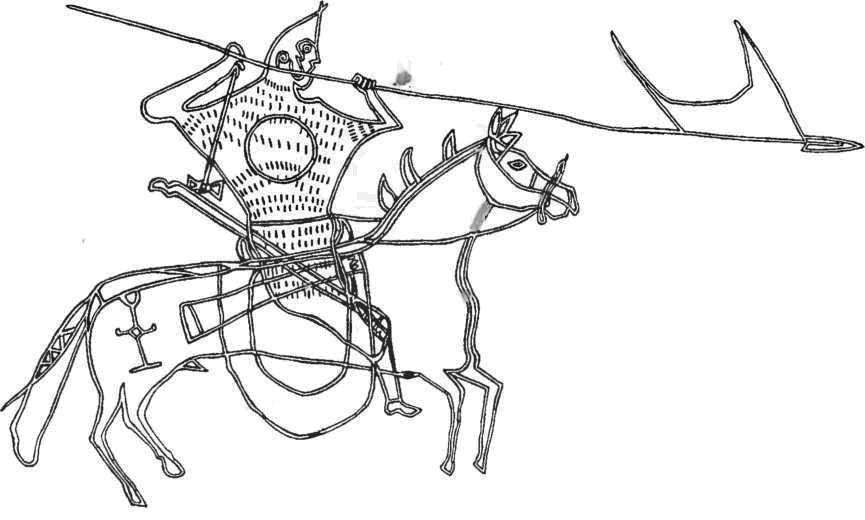 Наскальный рисунок рыцаря (Хакасия, Сулекские горы)
