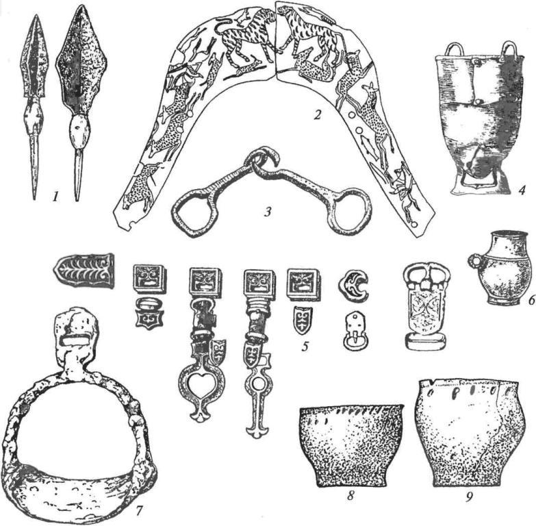 Алтай. Тюркский инвентарь: 1 — наконечники стрел с костяными свистульками; 2 — роговая накладка на переднюю луку седла, украшенная резьбою (могильник Кудыргэ); 3 — железные удила; 4 — котел; 5 — серебряные накладки, подвески, пряжки пояса; 6 — серебряный пиршественный сосуд; 7 — железное стремя; 8, 9 — глиняные горшки