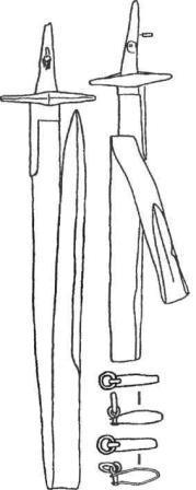 Палаши, согнутые для погребений, и детали ножен. XII—XIII вв.