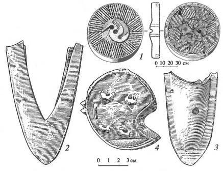 Земледельческий инвентарь монголов: 1 - каменный жернов (Каракорум); 2, 3 - чугунные плужные лемехи; 4 - отвал плуга (Тува).