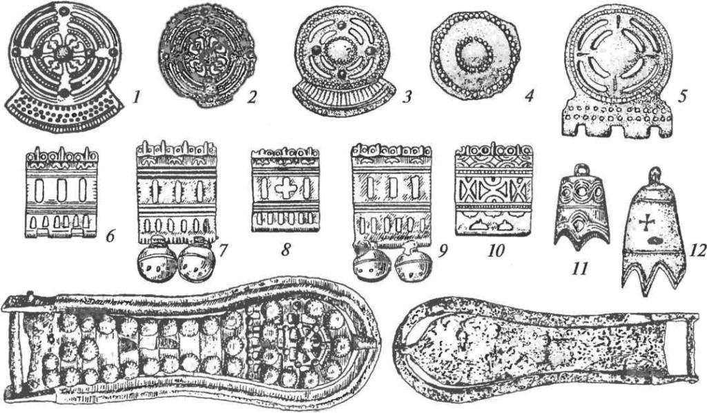 Бронзовое убранство амурских поясов: 1-10— накладки; 11-12— подвески; 13, 14— пряжки