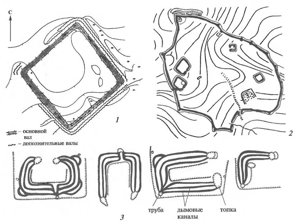 Типичная планировка городищ: 1 — равнинного бохайского (Брусиловское); 2 — горного чжурчжэньского (Екатириновское), с башнями и внутренними укреплениями; 3 — основные формы канов в жилищах