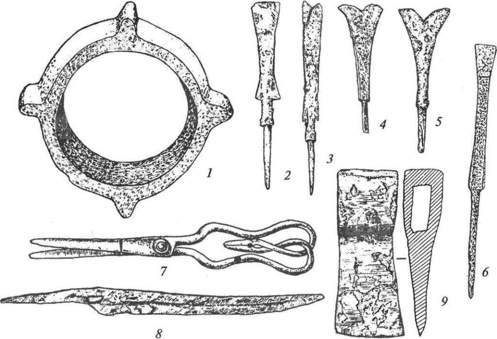 Металлические изделия: 1 — чугунная втулка (цун); 2-6 — железные наконечники стрел; 7 — ножницы; 8 — нож; 9 — топор