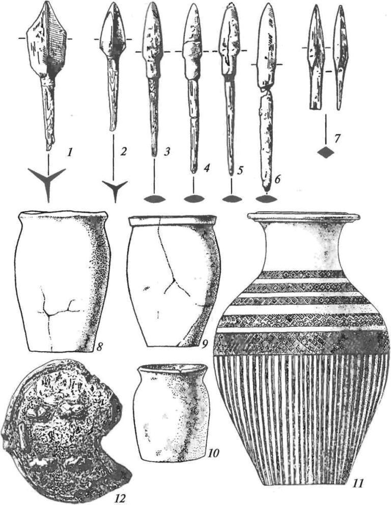 Уйгуры Тувы. Инвентарь: 1-7 — наконечники стрел; 8-10 — лепные сосуды; 11 — гончарная ваза; 12 - плужный отвал (1-6, 12— железо, 7— кость)